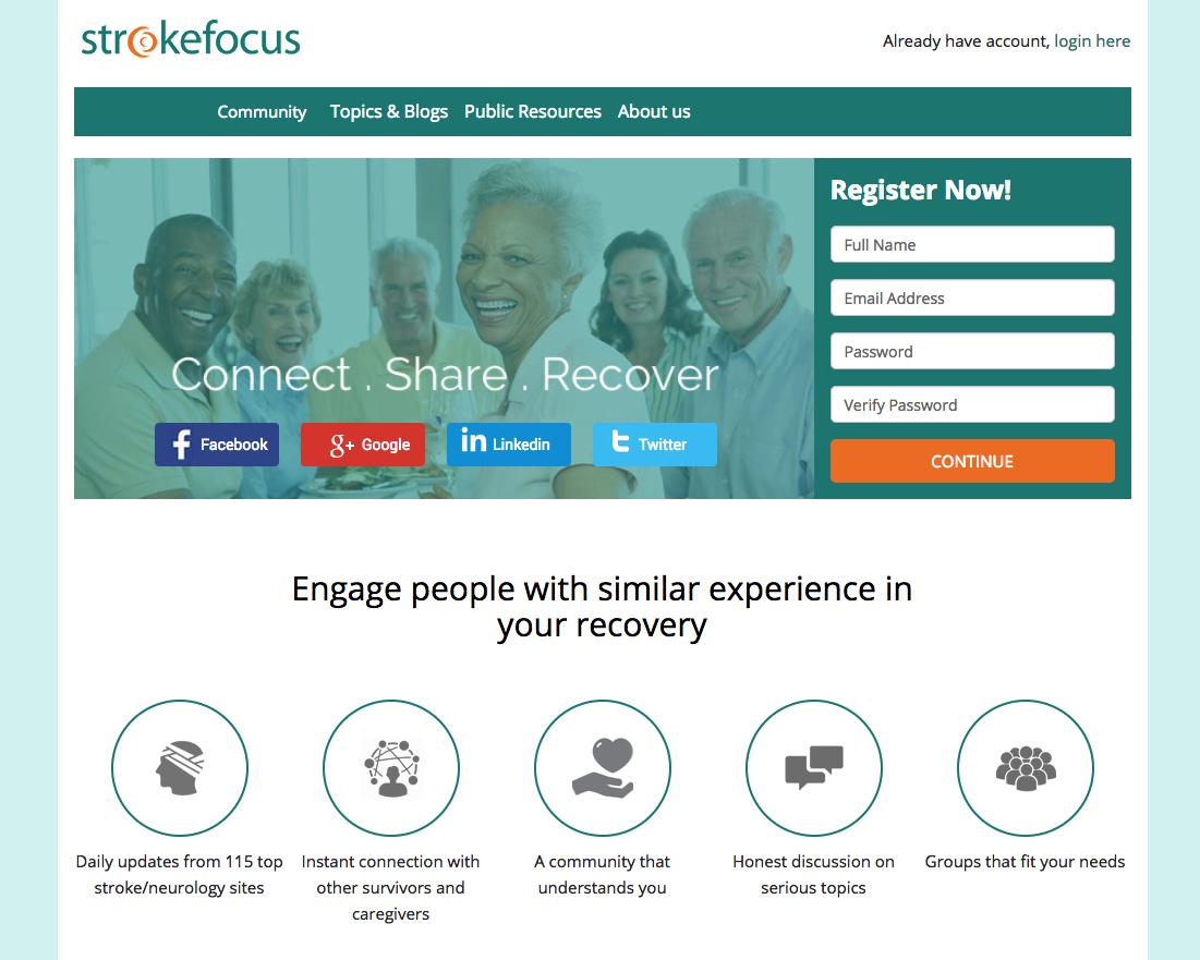Strokefocus, a social network survivors and caregivers use.