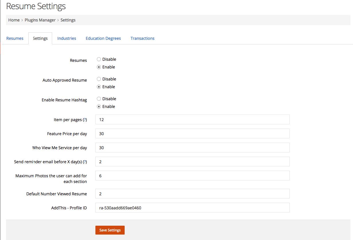 Resume Plugin Moosocial Online Resume